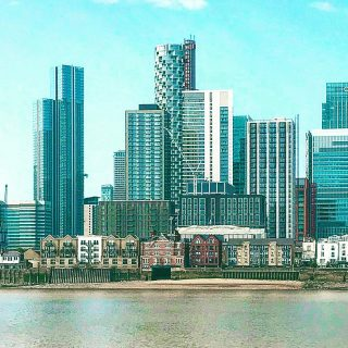 I was in London yesterday and found myself in #northgreenwich  Still resembles a building site but I liked looking across the water from the meridian line here.  🏙 ☀️ 🏙  #themadwomanintheattic #girlswhotravelsolo #skyscraperskyline
