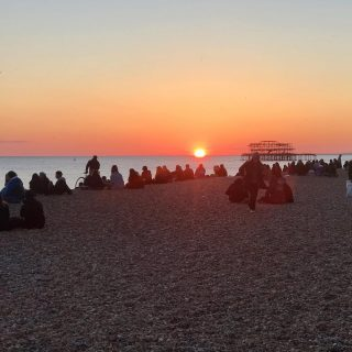 Watching sunset from a packed #brightonbeach   ☀️ 😎 🌅  #themadwomanintheattic #brightonbloggers #writersofinstagram #sunsetsofinstagram